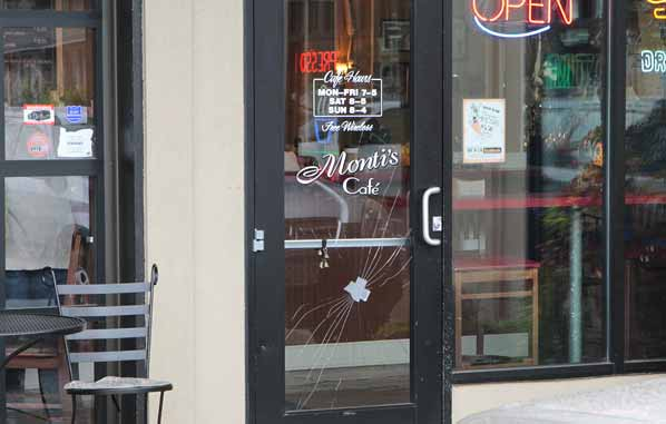 business glass front door. By Late Morning, The Businesses Were Open, Albeit Some With Broken Front Doors. A PPB Forensics Division Criminologist, His Kit In Hand, Made Way From Business Glass Door