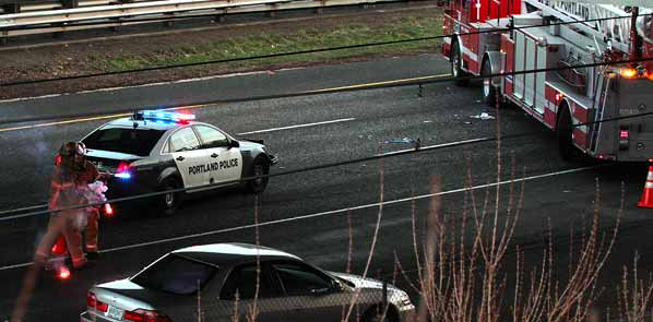 Roll-over crash closes I-205 in Lents   East PDX News